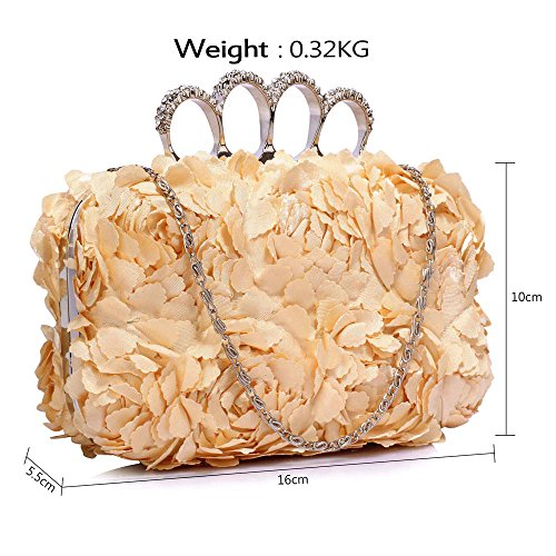 New Handbag Chain Nude With Bag Designer Box Ladies Hardcase Evening Design 1 Clutch Look Floral Design HyPf1YwqH