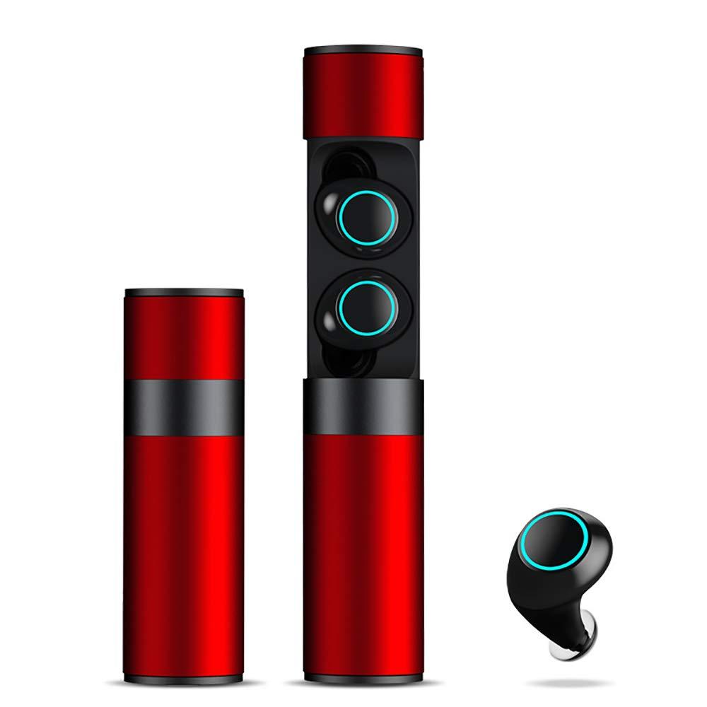 ワイヤレスbluetoothヘッドフォン車の磁気バイノーラルミニ防水スポーツイヤホン32 hプレイタイム3dディープベースステレオサウンドヘッドセット用apple,Red  Red B07RGKXPV1