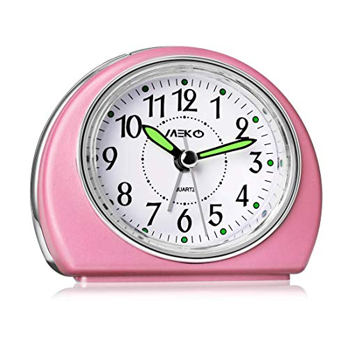 Alarm Clocks for Bedrooms, MEKO Small Battery Powered Travel Alarm Clock with Snooze and Nightlight, Silent No Ticking Bedside Clock(Pink)