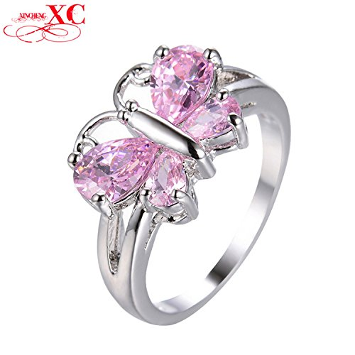 Judith Ripka Sterling Heart (Cherryn Jewelry Lovely Butterfly Pink Animal Ring White Gold Filled Bridal Ring Wedding Jewelry RW1357)