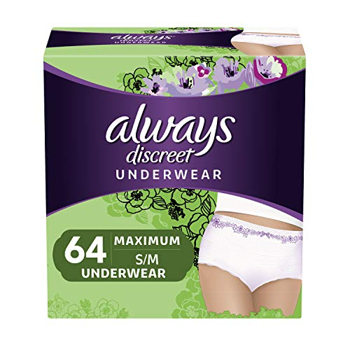 Always Discreet Incontinence & Postpartum Underwear for Women, Disposable, Maximum Protection, Small/Medium, 32 Count- Pack of 2 (64 Count Total) (Packaging May Vary) ()