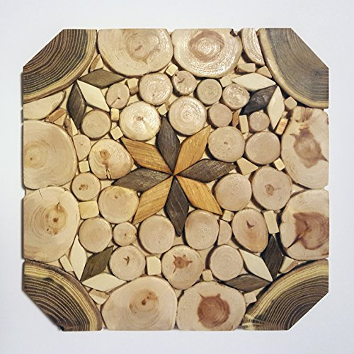 SPL woodcraft – unique natural handmade wood trivet for hot dishes – big coaster – cutting desk – 6 sorts of wood – natural smell – limited production
