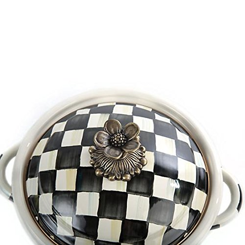 MACKENZIE CHILDS BRAND NEW Courtly Check Enamel Casserbole - Small 8.5'' dia., 10.5'' wide, 5.5'' tall, 5 cup capacity
