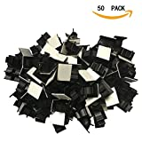 Adhesive Cable Clips Adjustable Wire Clips Cable Organizer Wire Holder Cable Clamps Cable Tie Holder for Car, Office and Home 50pcs(black)