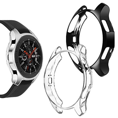 Goton Compatible Samsung Galaxy Watch 46mm Case 2018 (for SM-R805 and SM-R800 and Gear S3 Frontier SM-R760), (2 Packs) Soft TPU Smart Shockproof Case Cover Bumper Protector (Clear and Black, 46mm)