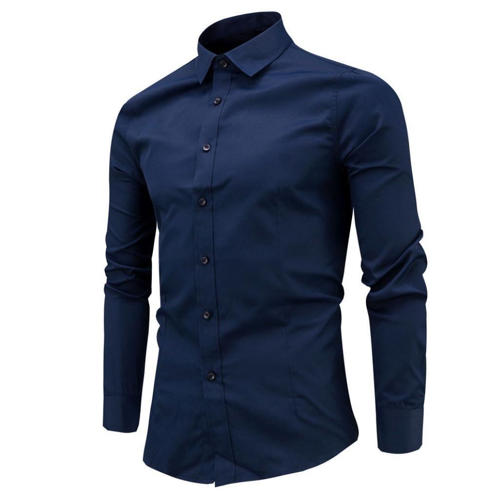feiXIANG Hombres Formales Camisa Casual Camisas de Hombre Manga Larga Camisas de Vestir Camisa de Negocio Slim Fit CAHK-CS