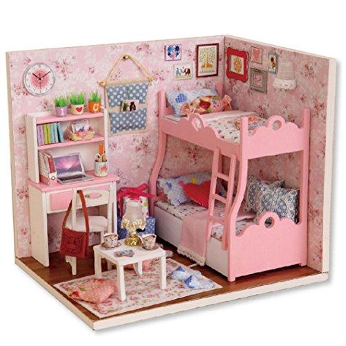 [Doll House] Kids Grils Gift DIY 3D Bunk Bed Dollhouse Paper Miniature Furniture Kit LED Light (Multicolor)