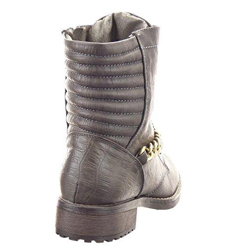 Sopily - Scarpe da Moda Stivaletti - Scarponcini Rangers donna Catena Zip Tacco a blocco 3.5 CM - soletta sintetico - foderato di pelliccia - Grigio