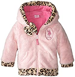 U.S. Polo Assn. Baby-Girls Coral Fleece Jacket with Faux Fur Leopard Print Trim, Baby Pink, 18 Months