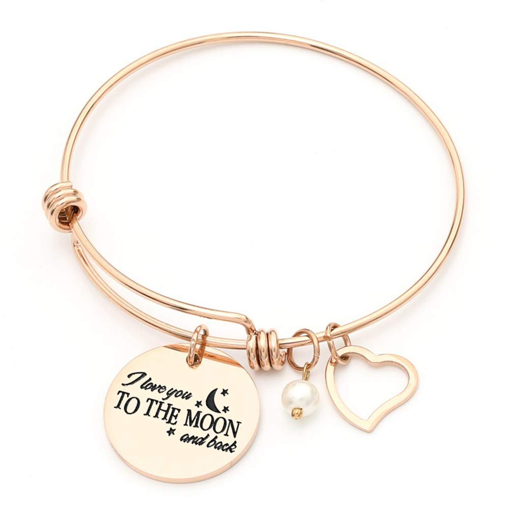 742905dac9212 Luvalti Charm Bracelet I Love You to The Moon & Back Adjustable Bangle Gift  for Women Girl Sister Mother Friends Womens Rose Gold
