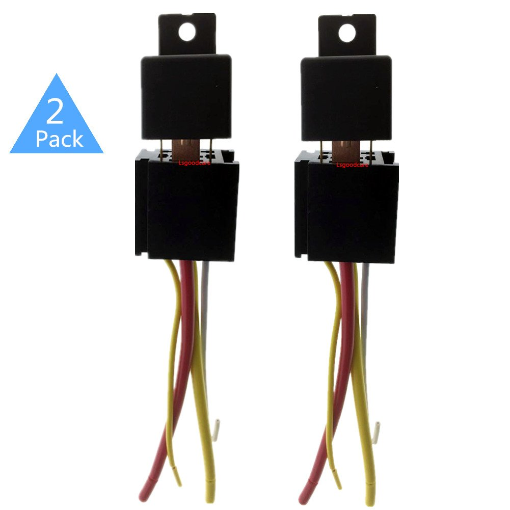 Automotive Relays 12V 5 Pin, Lsgoodcare 40/30 Amp Waterproof Relay Switch Harness Set, SPDT Car Boat Relays with 14 AWG 16 AWG Wiring Sockets