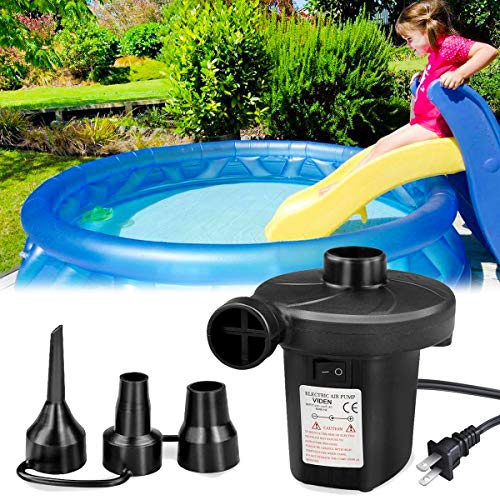 VIDEN Air Pump for Inflatables,Electric Mattress Pumps,for Inflatable pool ,Airbed ,Camping,Sports, Kids Paddling Pools & Toys,with 3 Nozzles,Quick-Fill 110-120V,Portable