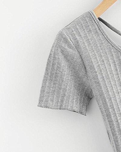 Estate Tomwell Indietro Corte T Camicetta Magliette Casuale Donna Tops Grigio Elegante Cross Moda Shirt Criss Maniche fqwWT5wU