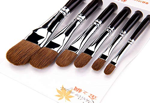 Artist Paint Brushes - Top Quality Red Sable (Weasel Hair) Long Handle, Filbert Paint Brush Set for Acrylic, Oil, Gouche and Watercolor Painting (Sable Filbert)