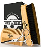 Facial Massage For Beard Growth - Beard Grooming Kit ( Brush - Comb - Scissor ) For Men Care / Boar Bristle Brush Great For All Beard Style - Wood Mustache Comb Ideal For Home & Travel - Stanley Steel Trimming Scissor For Best Styling