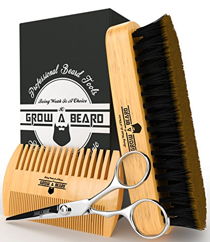 Styling Scissor (Beard Grooming Kit ( Brush - Comb - Scissor ) For Men Care / Boar Bristle Brush Great For All Beard Style - Wood Mustache Comb Ideal For Home & Travel - Stanley Steel Trimming Scissor For Best Styling)