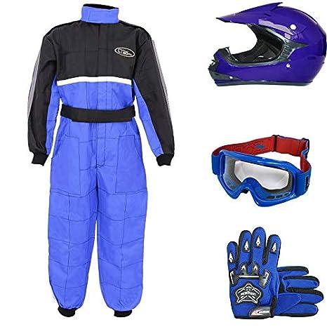 Leopard LEO-X15 Azul Casco de Motocross para Niños (XL 55cm) + Gafas + Guantes (XL 8cm) + Traje de Motocross para Niños - L (9-10 Años)