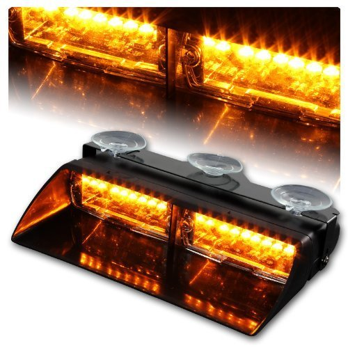 WoneNice 16 LED High Intensity LED Law Enforcement Emergency Hazard Warning Strobe Lights 18 Modes for Interior Roof / Dash / Windshield with Suction Cups (Amber)