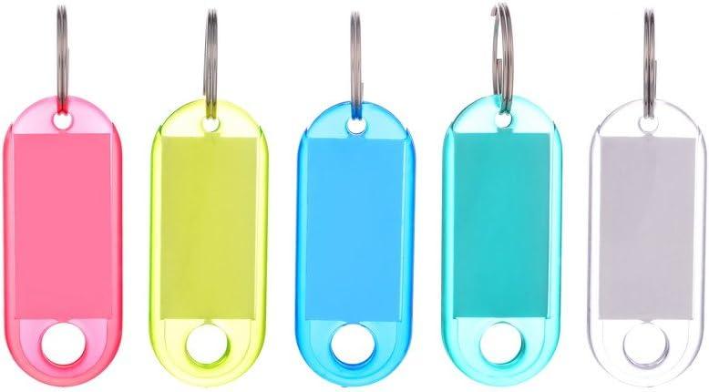 100 llaveros de plástico con etiquetas de identificación y anilla, colores mezclados, multicolor