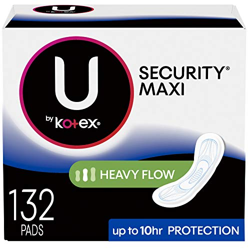 U by Kotex Security Maxi Pads, Heavy Flow, Long, Unscented, 132 Count (3 Packs of 44) ()