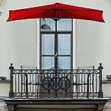 Pure Garden 50-145-R 9' Half Round Patio Umbrella, Red