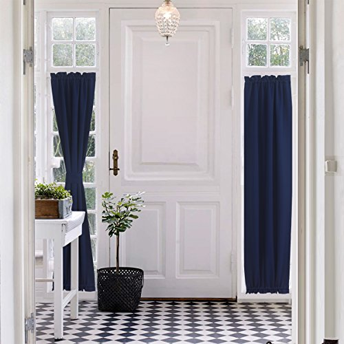 Aquazolax Plain Blackout Door Panel Curtain Readymade Privacy with Tieback (Panel Ready Glass)