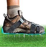 Little World Lawn Aerator Shoes with 3 Adjustable Straps and Nylon Heavy Duty Metal Buckles Spiked Sandals for Aerating Yard, Law and Grass
