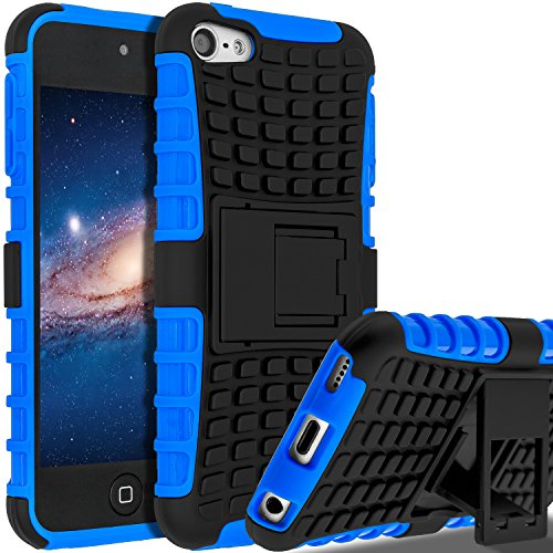 SLMY zting18 iPod Touch 6 Case,iPod Touch 5 Case, (TM) Heavy Duty Dual Layer Shockproof / Impact Resistance Hybrid Rugged Cover Case with Built-in Kickstand for Apple iPod Touch 5 6th Generation Blue