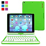 "iPad Air and New iPad 2017 9.7"" Keyboard, Snugg [Green] Wireless Bluetooth Keyboard Case Cover [Lifetime Guarantee] 360° degree Rotatable Keyboard for Apple iPad Air and New iPad 2017 9.7"""