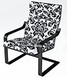 Armchair Sale KAO Mart Comfortable Relax Bentwood Black Armchair with Black Lounge Chair Frame with Damask Pattern Cushion (Black)