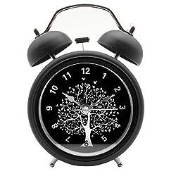 Innolife 3 Quiet Non-ticking Silent Quartz Analog Retro Vintage bedside Twin Bell Alarm Clock With Loud Alarm and Nightlight (Wishing Tree)