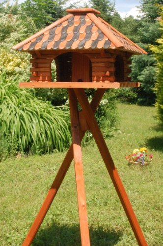 Brown with stand Brown with stand Deko-Shop-Hannusch Deluxe Bird Feeder (With Or Without Support Legs) Brown With Stand