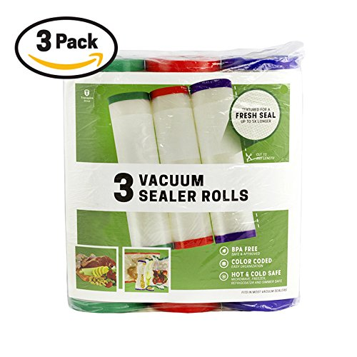 ColorSeal Vacuum Sealer Bags - 3 Color-Coded Rolls (8'x30ft) - Seal a Meal Food Storage Bags For Sous Vide. Commercial Vacuum Seal Rolls [3 pack] Heavy duty, BPA Free Freezer Bags.