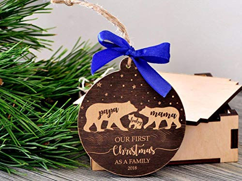 Bear Family Christmas Ornament Our First Christmas as Family Ornament Mama Papa Baby Bear Ornament New Parent Wooden Ornament Personalized