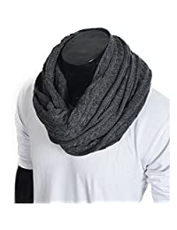 FORBUSITE Stylish Men Cable Soft Knit Infinity Scarf for Winter Charcoal grey