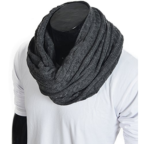 stylish-men-cable-soft-knit-infinity-scarf-dark-gray