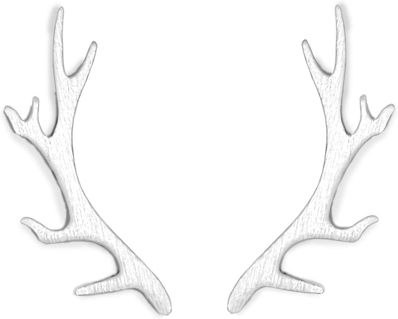 Altitude Boutique Antler Earrings For Women 18kt Gold Plated Stud Antler Crawler Earrings for Girls Outdoors Earring Cuffs Deer Animal Earrings (Gold, Silver, Rose Gold)