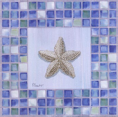 Mosaic Starfish by Paul Brent - 12x12 Inches - Art Print Poster