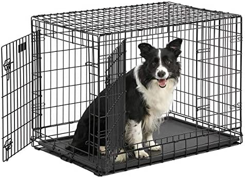 Ultima Pro Professional Series Most Durable MidWest Dog Crate Extra-Strong Double Door Folding Metal Dog Crate w Divider Panel, Floor Protecting Roller Feet Leak-Proof Plastic Pan