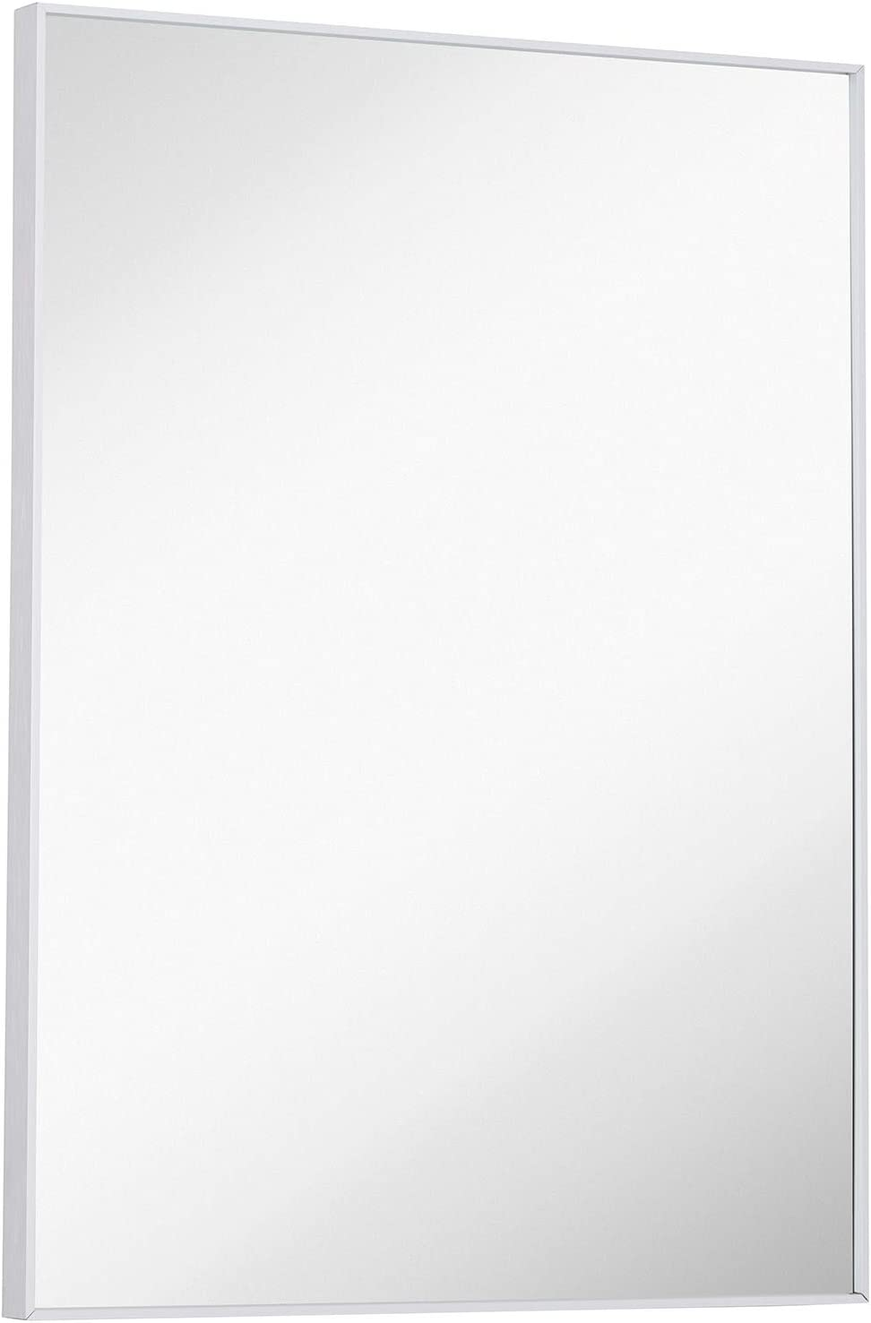 """Hamilton Hills Silver Brushed Metal Vanity Mirror Simple Edge Mirrors for Wall Bathroom and Decorative Bedroom 22""""x30"""""""