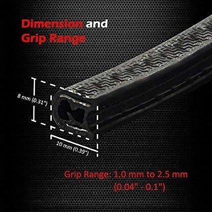 Car Door Edge Guards Ampper Car Door Edge Armor U Shape Body Edge Trim Protector w// Steel Core /& Rubber Clothing Fits for Most Car 16.5 Ft // 5 M, Black