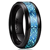 King Will DRAGON 8mm Blue Celtic Dragon Luminou Glow Black Titanium Wedding Ring for Men Women 9.5