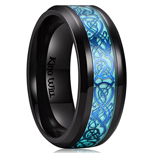 (King Will Aurora 8mm Blue Celtic Dragon Aurora Luminou Glow Black Titanium Wedding Ring for Unisex (6))