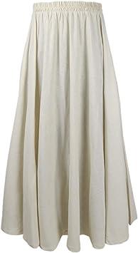 Falda larga elegante de lino y algodón para mujer beige beige 90CM: Amazon.es: Salud y cuidado personal