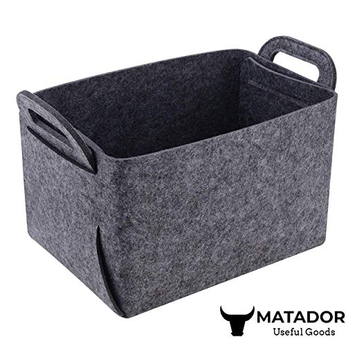 Felt Collapsible Storage Basket for Laundry - Foldable Organizer Container Bin for Toys, Clothes, Towels, Closet, Shelves | Large ( 14x10x9), Gray - Matador Useful - Felt Canvas