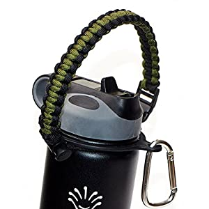 INN Paracord Handle for Hydro Flask,Strap Cord with Safety Ring and Carabiner,Paracord Survival Strap for 12oz - 65oz Wide Mouth Sports Water Bottles with Compass/Fire Starter/Whistle