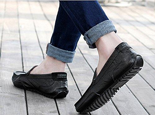 Negro Seaoeey de con Cuero Hombre Zapatos Cordones Planos FgqrCA0wg