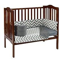 BabyDoll Minky Chevron Port-A-Crib Bedding Set, Grey