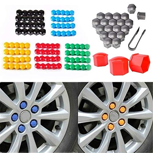 Everrich 20Pcs 17mm Car Lug Nut Bolt Screw Cover Wheel Hub Covers Tyre Protection Cap and Removal Tool-Nut Cap Nut Cover-Universal(Available in a variety of colors)
