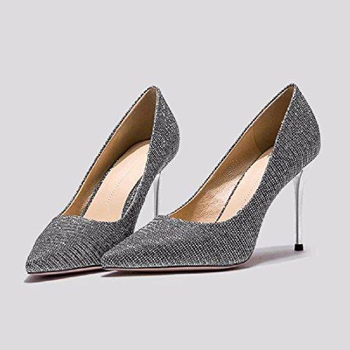 des Talons silvery Minces des Hauts Chaussures Talons QPSSP avec Les Chaussures De Seul Pointu Hauts Et C0BqWOwg
